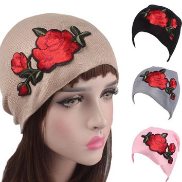 Roses Embroidery  Knitting Wool Hat Women's Beanies Fashion Cancer Chemo Hat Beanie Head Wrap Cap Skullie female cap