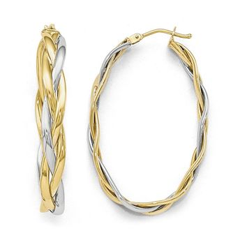 5mm Polished Braided Oval Hoop Earrings in 10k Two Tone Gold, 40mm