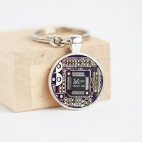 Men's Geeky Keychain - Purple Circuit board Keyring - unk - Father's day gift