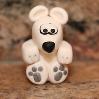 Frost the Polar Bear, pocket totem, polymer clay miniature animal, Animal Roundup, arctic figurine, small sculpture, black, white,gray,grey