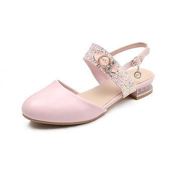 Sequined Toe Covers Low Heel Sandals Summer Shoes 3165
