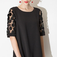 Black Flounced Mini Dress with Lace Embroidered Sleeve