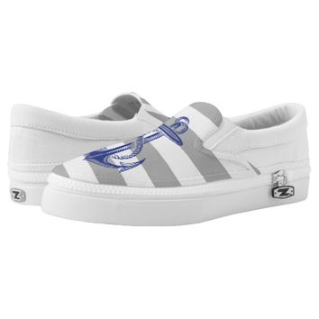 Blue Vintage Anchor Gray White Stripe Shoes Printed Shoes