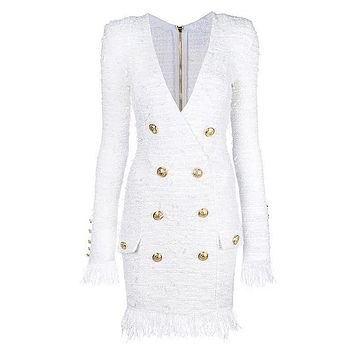 White V-neck Long Sleeve Buttons Tassel Fringed Tweed Dress