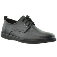 Mens Casual Shoes Lace Up Oxford Modern Loofers Flat Heel black