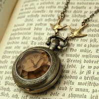 two swallows Amber Glass Pocket Watch by sweethearteverybody