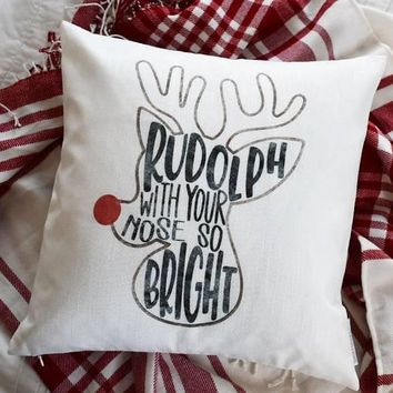 Christmas pillow cover, Christmas, reindeer pillow Rudolph with your nose so bright, Rudolph pillow, Christmas pillow