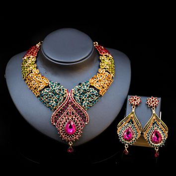 Costume women dubai jewelry set african beads engagement necklace and earrings