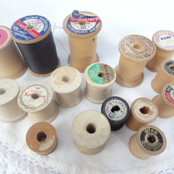 wooden spools old vintage antique sewing thread spools