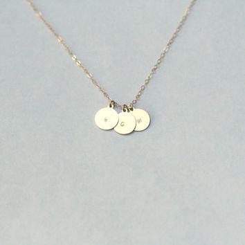 Gold initial - round 14K gold filled disc necklace . Choice of two/three disc . hand stamped . initial necklace .