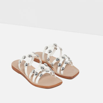 FLAT LEATHER STUDDED SANDALS - SHOES-TRF | ZARA United Kingdom