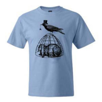 Mens Spooky Crow and Rabbit Screen Printed Blue Shirt