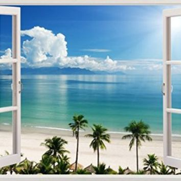 "Flat Water Palm Trees Ocean Beach Sea Scape Home Office Kitchen Kids Nursery Room Gift 3D Unique Window Depth Style Vinyl Print Removable Wall Sticker Decal Mural Size 19.6"" x 27"" by Bomba-Deal"