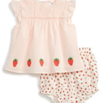 Mini Boden Embroidered Flutter Sleeve Top & Ruffle Shorts (Baby Girls) | Nordstrom