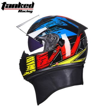 2017 Winter New Germay Tanked Racing Double lens Motorcycle Helmet ABS Full Face motorbike helmets with scarf and PC Lens visor
