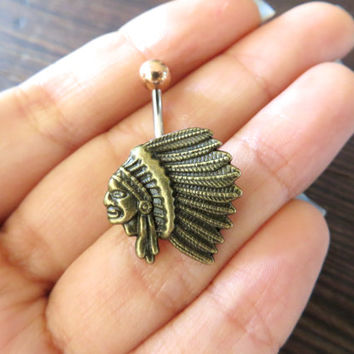 Bronze Chief Headdress Native American Feather Indian Belly Button Ring Jewelry Stud Navel Piercing Bar Barbell Patina