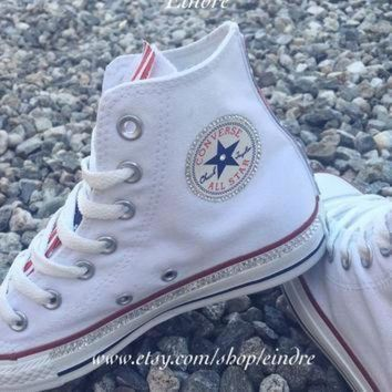 DCCKGQ8 reconstructed converse chuck taylor high top with custom american flag design embellis