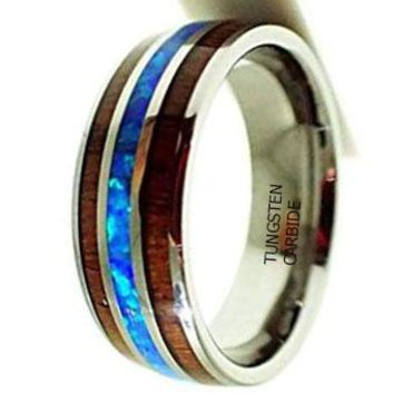 CERTIFIED 8MM Tungsten Carbide Koa Wood Synthetic Opal Confort Fit Ring
