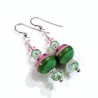 Watermelon Lampwork Earrings With Green Swarovski Crystals, Green Earrings, Pink Earrings, Lampwork Jewelry, Watermelon Earrings