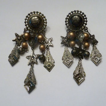 Vintage silver southwestern dangle earrings gold pearl and star accent costume jewelry