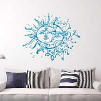 Moon Wall Decal Vinyl Sticker Decals Sun And Moon Crescent Dual Ethnic Stars Night Symbol Sunshine Home Decor Boho Bohemian Bedroom Art x2