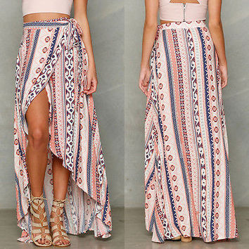 Maxi Long Casual dress Beach Sexy Women Lady Clothes dress Summer Boho Tribal Floral Beach Floreale Gonna Lunga Vestito