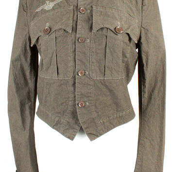 Y's Military Style Jacket with Front Chest Pockets in Army Green