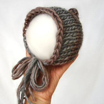 Gray and brown pixie hat knit from supersoft merino wool, newborn baby hat, photo prop