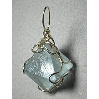 Fluorite Octahedron Crystal Pendant Wire Wrapped .925 Sterling Silver