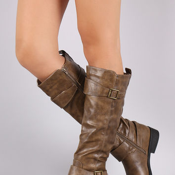 Qupid Triple Buckle Strap Riding Knee High Boots