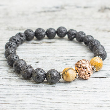 Black lava stone and jasper stone beaded rose gold Lion head stretchy bracelet, made to order yoga bracelet, mens bracelet, womens bracelet