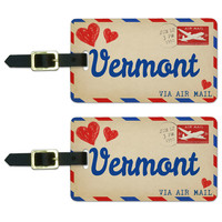 Air Mail Postcard Love for Vermont Luggage Tag Set