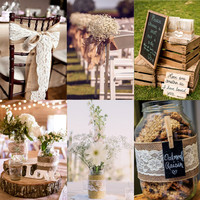 Wedding Decor Natural Jute Burlap with Lace