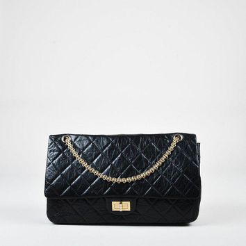 Tagre™ Chanel Black Aged Leather Quilted Double Flap 2.55 Reissue 228 Bag
