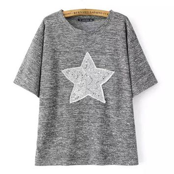Pentagram Embroidery T Shirt Women Round Neck Short Sleeve Summer Style Tee Shirt Femme Casual Street Tops Sequined T-Shirts