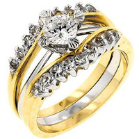 Two Tone Cubic Zirconia Anniversary Ring Set, size : 10