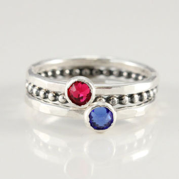 Birthstone rings set of 3, stacking mothers rings, sterling silver, 2 birthstone rings, 1 beaded ring, Swarovski crystals, gift for mom