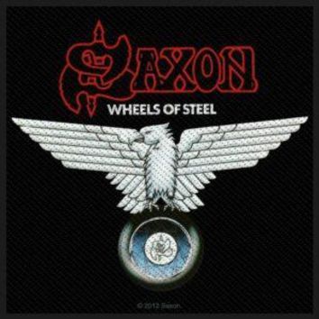 Saxon Sew On Patch Wheels Of Steel Logo