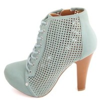 Qupid Perforated Lace-Up Platform Booties by Charlotte Russe - Sage