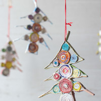 Recycled Paper Tree Christmas Ornaments