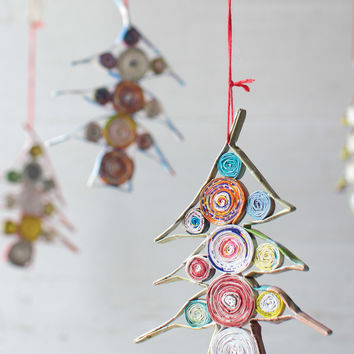 Recycled Paper Christmas Ornament- Tree