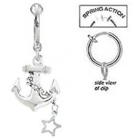 Fake Belly Navel Non Clip on Stainless Steel Anchor w/ Star chain Dangle Nautical boating Ring