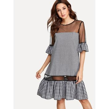 Mesh Insert Ruffle Hem Gingham Dress