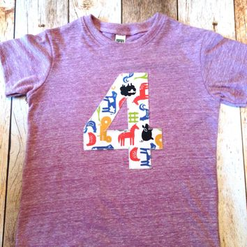 Eco purple Tractor barn Birthday Shirt farm Boys 1st Birthday one first Tractors and Animals Cow Sheep pig yellow red blue birthday