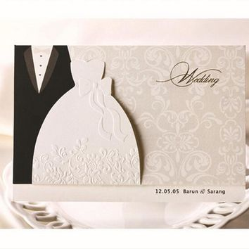 10 pieces New Classic Bride And Groom Wedding Invitation Cards White And Black Western Style Wedding Invitation Cardsfd/A