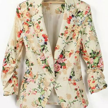 Floral Print Yellow Casual Blazer