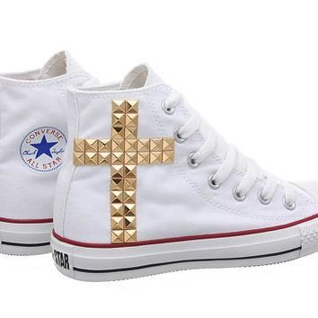 Studded Converse, Converse White High Top with Gold Cross Pattern Studs by CUSTOMDUO o