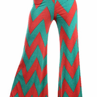 Chevron Striped Palazzo Pants - Fushia and Jade