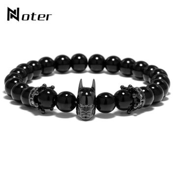 Batman Dark Knight gift Christmas Noter Batman Hero Black Beads Bracelet Charms Crystal Crown Elastic Hand Braclet For Men Jewelry Accessories Pulseira Masculina AT_71_6