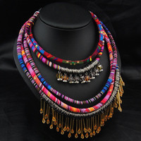 Afrocentric Ethnic Layered Fabric Statement Necklace